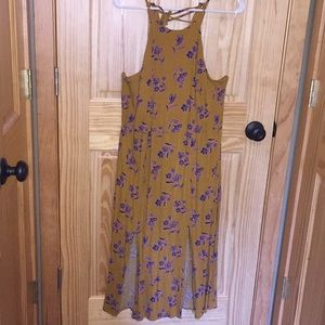Mustard dress with lace up back detail and slits